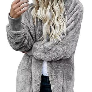HOODED FLUFFY WINTER CASUAL OPEN FRONT COAT JACKET